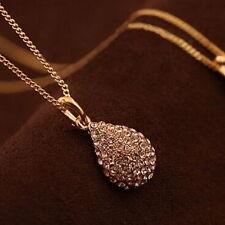 Fashion Women Rhinestone Gold Silver Teardrop Chain Crystal Pendant Necklace