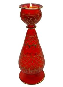 Extra Large Egyptian Mouth Blown Glass Candle Holders Multicolor Hand decorated