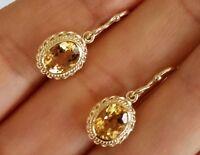 E066 Genuine 9ct Yellow Gold NATURAL Citrine Drop Dange Earrings 8x6mm gems