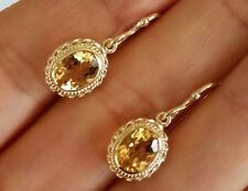 E066 Genuine 9ct Yellow Gold NATURAL Citrine Drop Dange Earrings 8x6mm gems