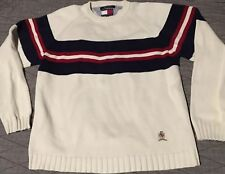 Vtg 90s Tommy Hilfiger Striped Sweater L Cream Blue Red Polo Sport Colorblock 92