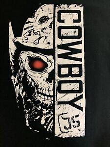 Cowboy James Storm Men's Large Black T-Shirt  Impact Wrestling Skull Graphic Tee