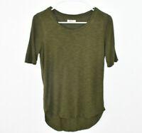 Madewell T-Shirt Top Women's XS Olive Green Hi Low Scoop Hem Short Sleeve