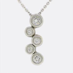 Tiffany & Co 0.28 Carat Diamond Bubbles Drop Pendant Necklace Platinum