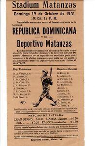 1941 Orig Baseball FLYER PAMPLET DOMINICAN NATIONAL BBC & Deportivo Matanzas