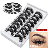 SKONHED 8 Pairs 3D Mink Hair False Eyelashes Full Volume Thick Wispies Lashes--