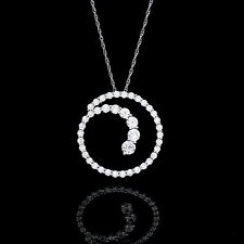 Journey Circle Pendant 1CT Created Diamond 14K Solid White Gold 20mm