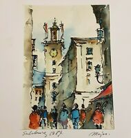 Small Watercolor Painting on Paper of European? Village Street Scene Signed