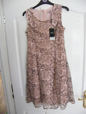 BEAUTIFUL NEXT DRESS SIZE 8 BNWT BLUSH PINK NUDE BLACK FLORAL LACE WORK RRP £55