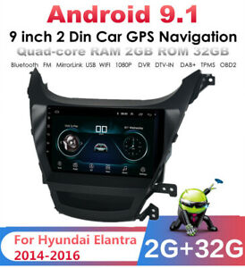 For Hyundai Elantra 2014-16 9'' Android 9.1 2+32G Car Stereo Radio GPS Player