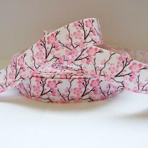 Per Metre - Cherry Blossom 25mm - Printed Grosgrain Ribbon /Party Cake/Hair Bow
