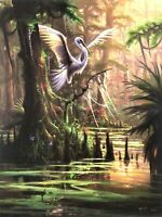 """""""Resting Place"""" Egret by RC Davis (Signed and Numbered) 22 x 29"""