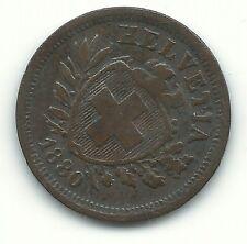 A VERY FINE CONDITION RARE 1880 B SWITZERLAND 1 RAPPEN COIN-NOV425