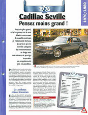 Cadillac Seville 1976 USA Car Auto FICHE FRANCE