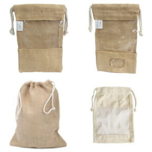 Eco friendly reusable jute gift bags choice of pouch, small window, large window
