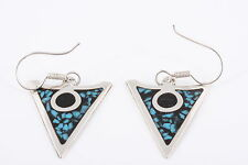 ARROW HEAD STERLING COLOR INLAY MEXICO EARRINGS 925 5412
