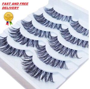 5Pair 3D Mink False Eyelashes Wispy Cross Long Thick Soft Eye Lashes Reusable