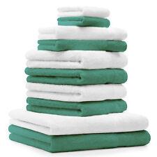 Betz 10-tlg. Handtuch-Set CLASSIC 100% Baumwolle smaragdgrün & weiß