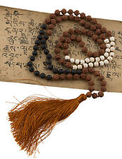 collar Collar mala Rudraksha Ø7mm Cuentas Piedra de Lava y Beige 25223 S4