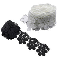 2 Yds Polyester Lace Trim Bridal Dress Belt Ribbon Flower Sewing DIY White/Black