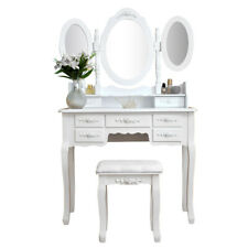 Dressing Table 7 Drawers 3 Mirrors with Stool Bedroom Vanity Set Makeup Dresser