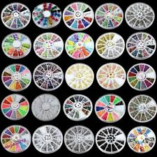 3D Glitter Rhinestones Acrylic Nail Art Tips Stud DIY Decoration Wheel Supply US