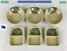 NEW Melamine Gold Dipping Sauce Trays Plates Set 2 Styles (6pcs) (B139)