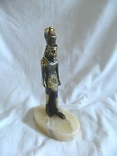 """Egyptian Brass King Ramses Statue On Alabaster Base 8.25""""High Unique!!"""