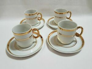 Vintage Fine China White Gold Espresso Cups Saucer Set Made In Japan