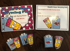 Rhyming Pictures Phonics File Folder Games Literacy Centers Pencil & Paper