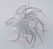 Silver & dove grey organza & feather fascinator hair comb. Wedding/Bridal/Races