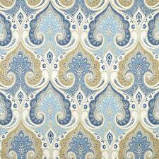 Wedgewood Blue LINEN Damask Upholstery Fabric, Blue Tan Curtains Fabric Yardage