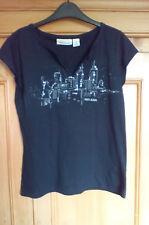 DKNY Navy Blue Round Neck (with split) Short Sleeve Cotton T Shirt, size XL (16)