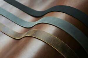 Black Brown Gray distressed leather strap , full grain leather strip 1.6mm thick