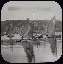 RARE Glass Magic Lantern Slide BRIXHAM FISHING TRAWLERS C1890 PHOTO DEVON BOATS