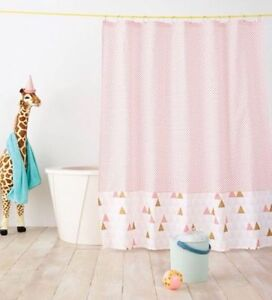 Pillowfort Smoothie Fabric Shower Curtain Kids Geo Triangle NEW White