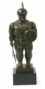 Fernando Botero Handcrafted Roman Warrior Bronze Masterpiece Sculpture Figure