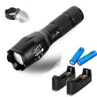Tactical Ultrafire Flashlight T6 50000lm 5 Modes Zoomable +18650 Battery Charger