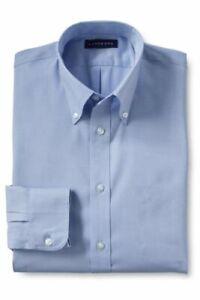 Lands' End Boys Long Slv No Iron Pinpoint Dress Shirt Blue 18 # 219320