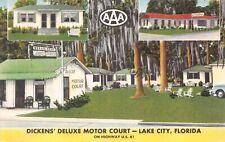 Linen Postcard Dickens' Deluxe Motor Court in Lake City, Florida~124778