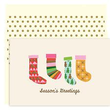 Christmas Stockings Boxed Holiday Christmas Cards Set of 18