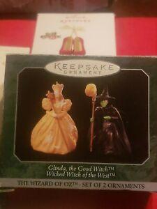 Hallmark Wizard Of Oz Glinda The Good & Wicked Witch Christmas Mini Ornaments
