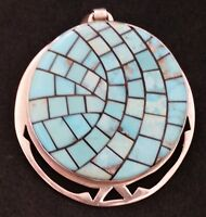 Vtg Turquoise Inlay Round Sterling Silver Large Pendant LARGE 1 7/8 in Diameter