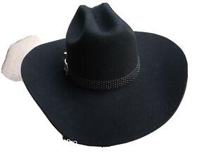 Mens Eddy 90% Wool Black Cowboy Hat.  Size 7 1/4