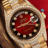 Rolex Presidential 36mm Diamond Red Vignette Diamond Dial 18kt Gold Watch 18038