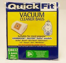 5 X QUICKFIT VACUUM BAGS QB832 WITH PRE FILTER