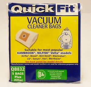 KAMBROOK  VACUUM BAGS QUICKFIT QB832 5 BAGS WITH PRE FILTER