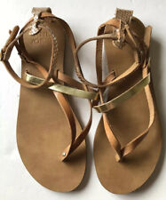 John Lewis AND/OR Libby Tan Gold Leather Strappy Flat Toe Post Thong Sandal Sz 6