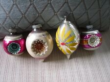 4 VINTAGE Christmas SHINY BRITE GLASS TREE ORNAMENTS  INDENT TEARDROP MERCURY
