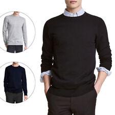 Maglia uomo girocollo slim fit nero/grigio/blu maglione pullover